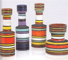 Striped Pottery Vases by Bitossi for Raymor