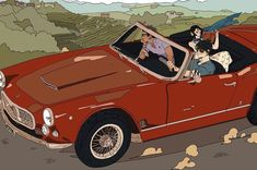 Alec drives a Maserati! Magnus and Shinyun ride along. of 5 illustrations by Cassandra Jean for the release of Red Scrolls! Cassandra Jean, Maserati, Julian Blackthorn, Cassie Clare, Shadowhunters Malec, Ride Along, Holly Black, Tessa Gray, The Dark Artifices