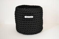 Black basket, rope crochet basket, storage basket, home decor by iKNITSTORE on Etsy Black Basket, Storage Baskets, Crocs, House Warming, Gifts, Handmade, Shopping, Fashion, Moda