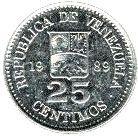 25 Centimos #Venezuela - 1989-1990 Ritrae Simon Bolivar, condottiero che liberò l'America di Sud dal dominio spagnolo.