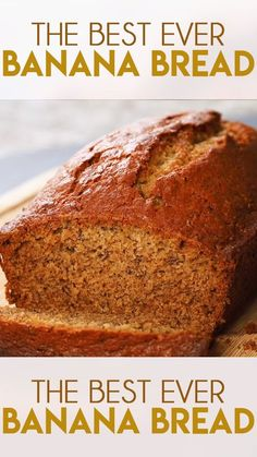 Best Banana Bread Recipe is so easy to make and super soft and moist! The very best way to use up overripe bananas this bread is tender and packed full of flavor! snacks with bread Best Banana Bread Easy Bread Recipes, Banana Bread Recipes, Sweet Recipes, Banana Bread Recipe 3 Bananas, Banana Recipes Videos, Overripe Banana Recipes, Banana Bread Recipe Video, Recipes Using Bananas, Frozen Banana Recipes