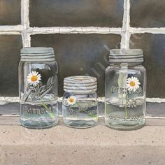 We Three (framed art print from watercolour of daisies in a mason jars by cori lee marvin)