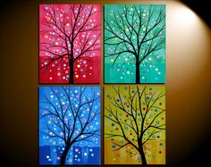 Four Seasons Tree Art Peacock Painting, Diy Painting, Hippie Painting, Small Canvas Paintings, Canvas Art, Tree Canvas, Canvas Ideas, Custom Cardboard Boxes, Interior Concept