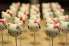 One of my favorite custom shapes are the Hello Kitty cake pops! I was, of course, inspired by the all amazing Bakerella, but I added a litt. Bolo Da Hello Kitty, Hello Kitty Birthday, Little Girl Birthday, Hello Kitty Themes, Cake Pops How To Make, Hello Kitty Collection, Drop Cookies, Cat Party, Creative Cakes