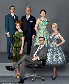 Eight years of this: Jones with the cast of Mad Men which was a critical and commercial hi...