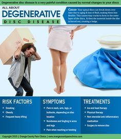 Mission Viejo, CA 92691 – Pain Management – Learn more about degenerative disc disease and how it can be treated with this shareable infographic. Spine Pain, Neck Pain, Sciatic Nerve Exercises, Cervical Disc, Cervical Spondylosis, Sciatica Pain Relief, Degenerative Disc Disease, Spinal Stenosis, Spine Health