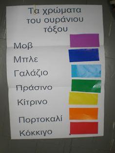 5ο Νηπιαγωγείο Τρίπολης: Χρώματα-Στο ουράνιο τόξο Autumn Activities, First Day Of School, Art Lessons, Art For Kids, Rainbow, Colours, Education, Party, Blog