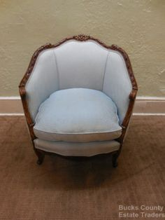 Beau Antique French Louis XV Style Carved Barrel Back Bergere Living Room Chair
