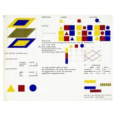 Heinrich Siegfried Bormann, Illustration of the four primary colours: their planar relation to each other (study from Kandinsky's course), 1930. Bauhaus Dessau, Germany. Via Bauhaus Archiv Berlin