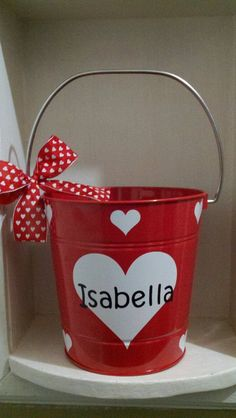 Personalized Red Tin Bucket! So cute!!