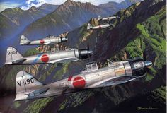 Painting depicting final moments of Ens Sadao Yamaguchi (V-190) of TainanKōkūtai on May 17, 1942On May 17, 1942 Eighteen A6M2 Zeros of the Tainan Kōkūtai took off from Lae Airfield to strafe targets at Port Moresby. On the way to the target, one Zero aborted and returned to base. The 2nd Chutai was led by Tadashi Nakajima, with Hiroyoshi Nishizawa, Junichi Sasai, Toshio Ota, Saburō Sakai,  Tsuomo Ito and Kaoru Yamaguchi. [This was the only mission when  Nishizawa, Sasai and Sakai flew…