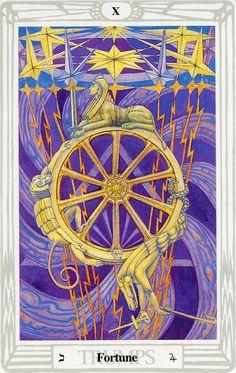 X - La roue de la fortune - Tarot Thoth par Aleister Crowley Aleister Crowley Tarot, 3 Card Tarot Reading, Wheel Of Fortune Tarot, Tarot Significado, All Tarot Cards, Tarot Major Arcana, Tarot Card Meanings, Oracle Cards, Tarot Decks