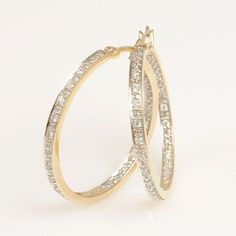 14K Yellow Gold Diamond Hoop Earrings #finejewelry #diamonds #GoldEarrings