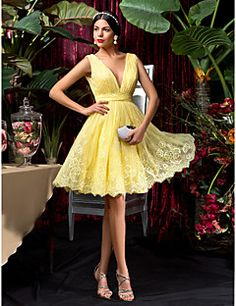Knee-length Lace Bridesmaid Dress - Daffodil Plus Sizes / Petite A-line V-neck