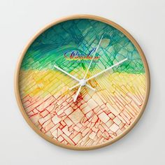 Rainbow typograph with Cracked out Glass WALL CLOCK #wallclock #wall #clock #artdesign #digitalart #digital #painting #oil #acrylic #typography #pattern #abstract #vangogh #starrynight #broken #rupture #damaged #crackedout #lifequotes #retro