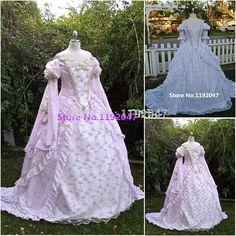 Free Shipping Custom made Cosplay  period Costumes Dress pink blue Victorian Ball Gown Dress XS S M L XL 2XL 3XL