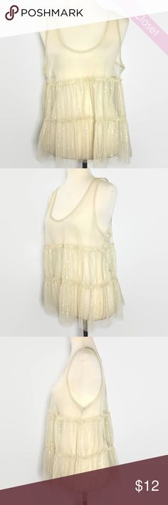 Sheer Ivory Tank w/Sequins OAFM Sheer Ivory Tank w/Sequins OAFM  Ideal Size for Small to Medium Unknown Tops Tank Tops