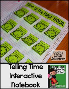 Telling Time Second Grade Math Notebook Teaching Clock, Teaching Time, Interactive Math Journals, Math Notebooks, Telling Time Activities, Math Activities, Second Grade Math, Grade 1, Math Measurement