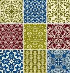 Vector Seamless Floral Patterns. Patterns. $12.00