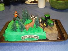 Birthday cake. Jayden wants a hunting or john deere cake, this just might be it!
