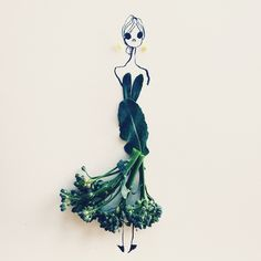 Broccoli Rabe, Striking Fashion Sketches That Strategically Incorporate Colorful Fruits and Vegetables