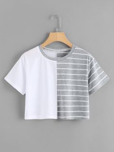 - contrast striped crop t Cute Girl Outfits, Cute Casual Outfits, Pretty Outfits, Stylish Outfits, Beautiful Outfits, Girls Fashion Clothes, Teen Fashion Outfits, Mode Outfits, Vetement Fashion