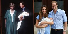St. Mary's Hospital — check! White blanket — check! Glowing mom in polka dot post-baby dress — check! Happy dad — check! Prince William and Prince George shared a lot in common when they were first introduced to the world on June 22, 1982 and July 23, 2013, respectively.  - GoodHousekeeping.com