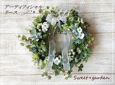 【再販】sweet garden*清楚なグリーンとホワイトのリース(fw069)【直径約28センチ】