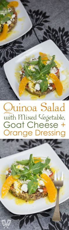 Pax Romana's Quinoa Salad with Mixed Vegetable, Goat Cheese & Orange Dressing: No more boring quinoa salad recipes! Fresh orange zest and juice go into the bold, bright vinaigrette for this beautifully plated restaurant recipe. #BigFlavorsFromARestaurantKitchen