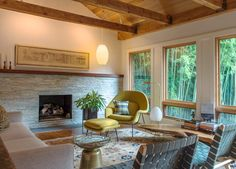 Transitional Living Room by Rill Architects, mid century modern, saarinen, womb chair Living Room Interior, Interior Design Living Room, Modern Interior, George Nelson, Home Engineering, Womb Chair, Living Room Photos, Living Room Accents, Transitional Living Rooms