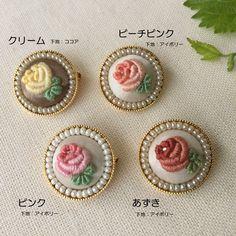 【受注制作】刺繍ミニブローチ バラ