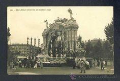 Postal de BARCELONA: Record de les festes de 1910: Plaça de Catalunya