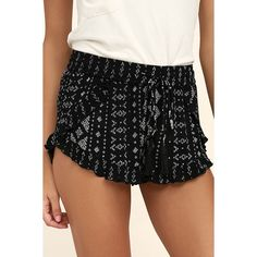 Patrons of Peace Maisie Black Print Shorts ($46) ❤ liked on Polyvore featuring shorts, black, embellished shorts, woven shorts, tassel shorts, tie-dye shorts and patterned shorts