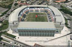 Modelação 3D do Estádio Dom Afonso Henriques, em Guimarães.  Pode visitar este nosso trabalho na camada earth do google maps.