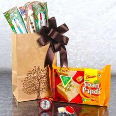Three Designer Rakhis With Laxmi Ganesha Coin And Soan Papdi Raksha Bandhan Gifts, Ganesha, Paper Shopping Bag, Third, Coins, Design, Rooms, Ganesh