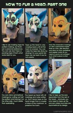 I whipped this up in hopes that I could help some people out there with their fursuit stuff Basically its' just showing the HUGE difference that a. The Difference Airbrushing Makes on a Fursuit Head Costume Tutorial, Cosplay Tutorial, Cosplay Diy, Fursuit Tutorial, Animal Costumes, Diy Costumes, Fursuit Head, Dimples, Catwoman