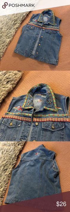 Vintage floral jean vest LOVE this vest. Got it for a themed party but it's too big on me so I'm reselling. Great detail and design Vintage Jackets & Coats Jean Jackets