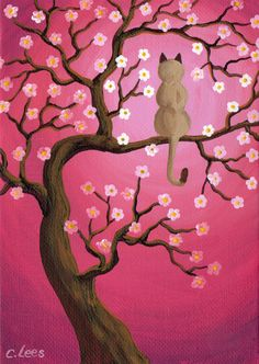 Siamese Cat in Pink Moon