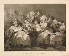 """A Sketch from Nature"" A man partially sits in a woman's lap. She holds a drink aloft. Another woman, to the left, looks drunk and dissipated. Others drink and carouse"
