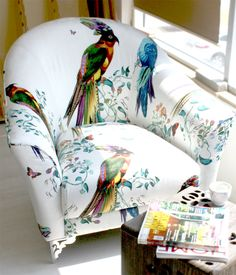 Designer Armchair, Pattern Chair, Multicolored Chair Bird and Floral Upholstered Armchair Upholstered Chair. $685.00, via Etsy.