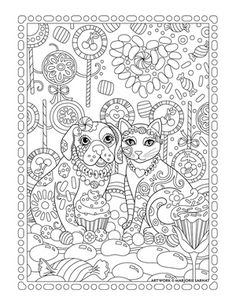 lollipop garden dog and cat ~ Pampered Pets Adult Coloring Book by Marjorie Sarnat