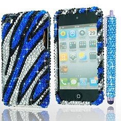 iPod Touch 4th Generation Case - Bling Zebra Print Cover for Apple iPod Touch 4 / 1 Bling Stylus Pen / 1 ECO-FUSED Microfiber Cleaning Cloth (Blue/Silver/Black)
