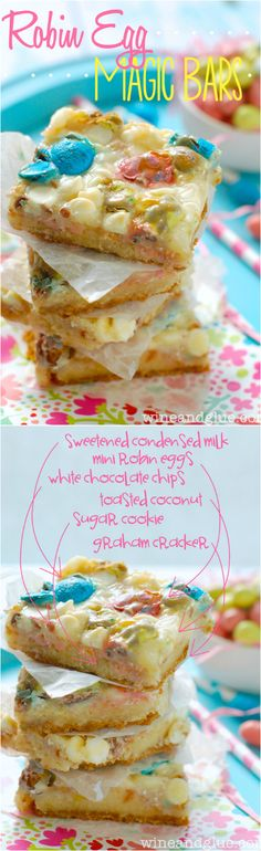 Robin Egg Magic Bars with a graham cracker crust and sugar cookie middle Just Desserts, Delicious Desserts, Dessert Recipes, Yummy Food, Bar Recipes, Dinner Recipes, Easter Recipes, Holiday Recipes, Easter Desserts