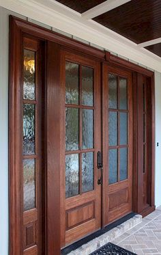70 Beautiful Farmhouse Front Door Design Ideas And Decor 56 Double Front Entry Doors, Front Door Entryway, Wooden Front Doors, Glass Front Door, Wooden Door Design, Main Door Design, Front Door Design, Door And Window Design, Door Design Interior