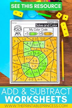 This no-prep BUNDLE of Addition, Subtraction, and MIXED Addition and Subtraction worksheets with cut apart counters is a great resource for reinforcing addition and subtraction within ten! These pages are great for math centers, sub tubs, morning work, or fast finishers. They are also great for homework because the counters are right on the page!
