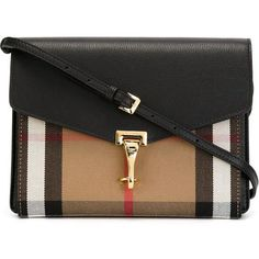 Burberry House Check Flap Bag (3.285 BRL) ❤ liked on Polyvore featuring bags, handbags, shoulder bags, purses, black, purse shoulder bag, shoulder handbags, hand bags, handbags shoulder bags and burberry shoulder bag