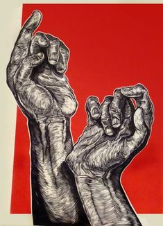 I like this one because it shows detail in the arm and the hand this a Lino cut of 2 hands