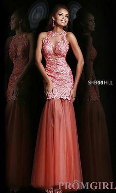 Long High Neck Leaf Applique Dress at PromGirl.com