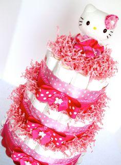 Baby Diaper Cake   Hello Kitty Pink Ballerina Baby Shower Diaper Cake  Centerpiece   3 Tier