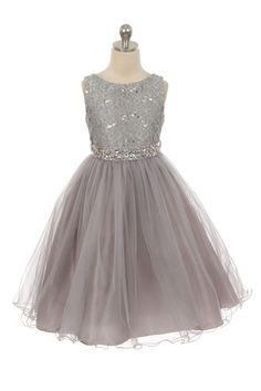 Silver Sleeveless Shiny Tulle Flower Girls Dress with Beaded Waist